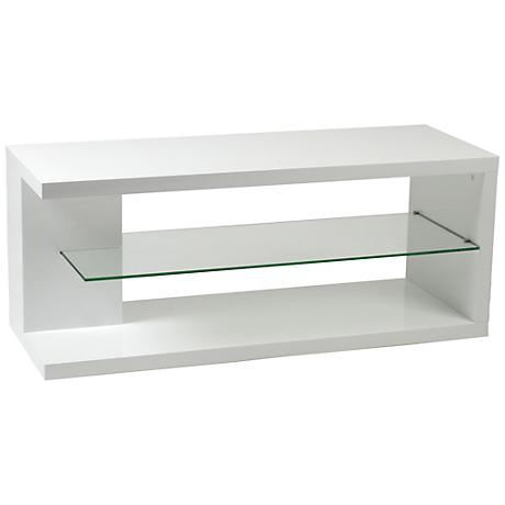 Hilda Clear Glass and White Media Stand