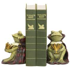 Set of 2 Green and Gold Frog Prince Bookends