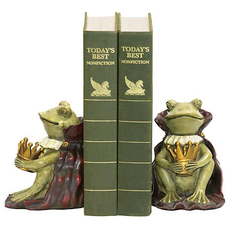 Green and Gold Frog Prince Bookends Set