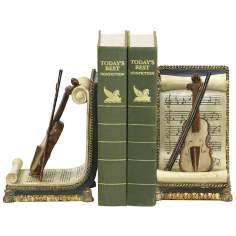 Set of 2 Ivory and Gold Violin and Music Bookends