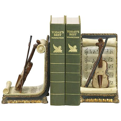 Ivory and Gold Violin and Music Bookends Set