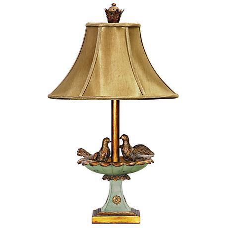 Love Birds in Bath Gold Leaf and Green Table Lamp