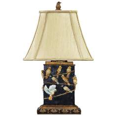 Birds On Branch West Riding Black Table Lamp