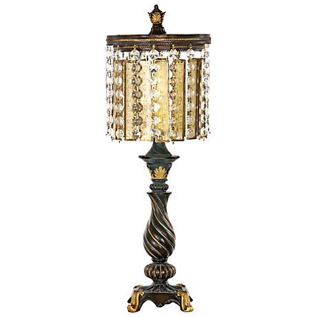 Amber and Crystal Gold Leaf and Black Table Lamp