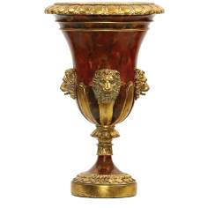 Large Red and Gold Lion Head Urn