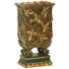 Aviary Black and Antique Gold Mantle Vase