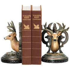 Set of 2 Deer Head Black and Brown Bookends