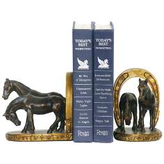 Antiqued Brown and Gold Horse and Horseshoe Bookends