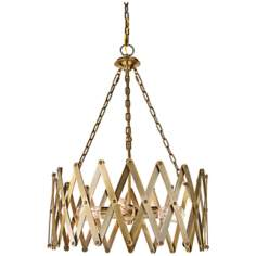 "Murray Feiss Hugo 22 1/4"" Wide 4-Light Bali Brass Pendant"