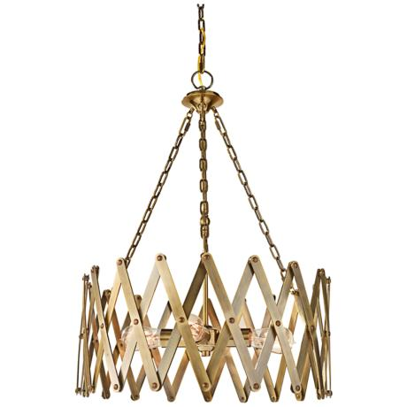 "Feiss Hugo 22 1/4"" Wide 4-Light Bali Brass Pendant"