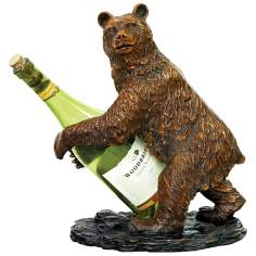 Brown and Black Bear Wine Holder