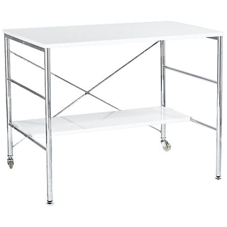Ida Chrome Steel and White Desk