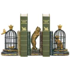 Set of 3 Trading Places Black and Gold Cat Bookends