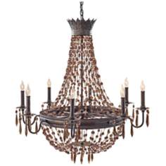 "Murray Feiss Marcia 34"" Wide Chocolate Crystal Chandelier"