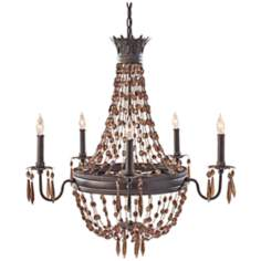 "Murray Feiss Marcia 29"" Wide Chocolate Crystal Chandelier"