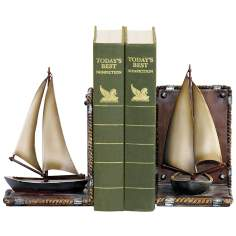 Set of 2 Brown and Ivory Sailboat Bookends