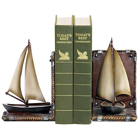 Brown and Ivory Sailboat Bookends Set