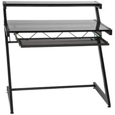 Zeus Deluxe Small Smoked Glass Graphite Shelf Desk