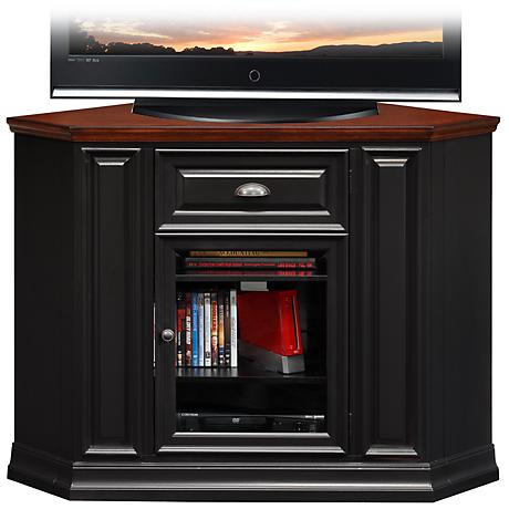 Black and Brown Cherry Corner TV Stand