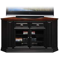 Brown Cherry and Black Corner TV Stand
