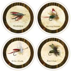 Hindostone Set of 4 Fishing Flies Coasters