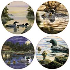 Hindostone Set of 4 Loons Coasters