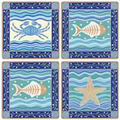 Hindostone Set of 4 Coastal Icons Coasters