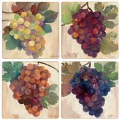 Hindostone Set of 4 Grape Harvest Coasters
