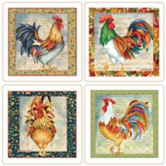 Hindostone Set of 4 Pretty Roosters Coasters