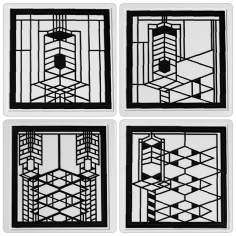 Hindostone Set of 4 Robie House Metal Inserts Coasters