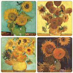 Hindostone Set of 4 Van Gogh Sunflowers Coasters
