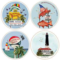 Hindostone Set of 4 Pensacola Icons Coasters