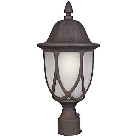 "Capella 19 1/4""H Crackled Glass Gold Outdoor Post Light"