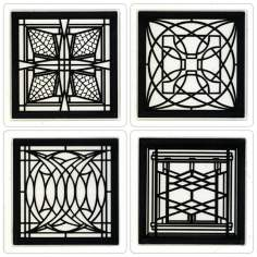 Hindostone Set of 4 Architectural Metal Inserts Coasters