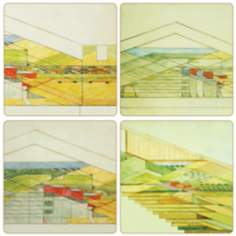Hindostone Set of 4 Frank Lloyd Wright Barns Coasters