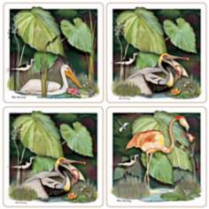 Hindostone Set of 4 Sandstone Birds Coasters
