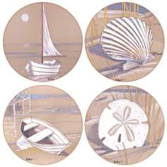Hindostone Set of 4 Boats and Shells Coasters