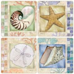 Hindostone Set of 4 Mosaic Shells Coasters