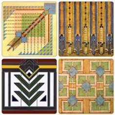 Hindostone Set of 4 Frank Lloyd Wright Rug Coasters