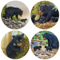 Hindostone Set of 4 Black Bears Coasters
