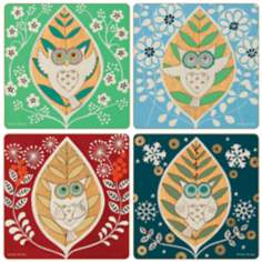 Hindostone Set of 4 Sandstone Hoot Coasters