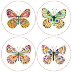 Hindostone Set of 4 Butterflies Coasters