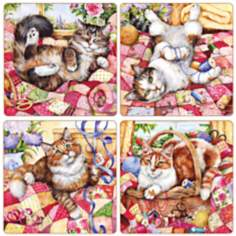 Hindostone Set of 4 Crafty Cats Coasters