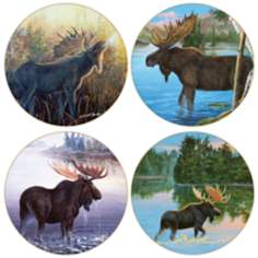 Hindostone Set of 4 Sandstone Moose Coasters