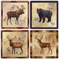 Hindostone Set of 4 Northwest Animals Coasters