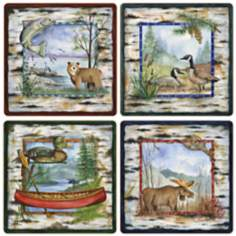 Hindostone Set of 4 White Birch Lodge Coasters