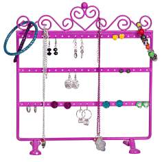 Mele & Co. Kara Metal Scroll and Heart Pink Jewelry Stand