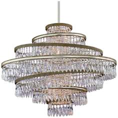 "Diva Silver Gold and Crystal 30"" Wide Corbett Pendant Light"