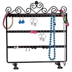 Mele & Co. Kara Metal Scroll and Heart Black Jewelry Stand