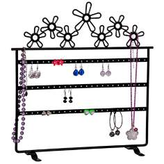 Mele & Co. Flora Metal Daisies Black Jewelry Stand